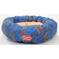 Фотография товара Лежак для собак Родные Места Ватрушка Огурцы синие, размер 50x50x15см.
