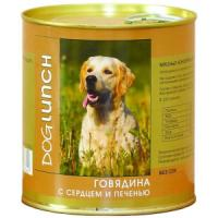 Фотография товара Консервы для собак Dog Lunch, 750 г, говядина с сердцем и печенью в желе