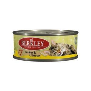Влажный корм для кошек Berkley, 100 г, индейка с сыром