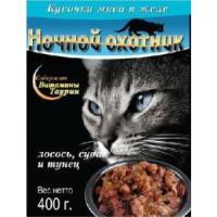 Фотография товара Корм для кошек Ночной охотник, 400 г, лосось судак и тунец