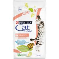 Фотография товара Purina Cat Chow Sensitive корм для кошек, 1.5 кг, домашняя птица с лососем