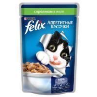 Фотография товара Влажный корм для кошек Felix Аппетитные кусочки, 85 г, кролик