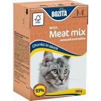 Фотография товара Корм для кошек Bozita Mini кусочки в соусе Мясной Коктейль, 190 г, мясной коктейль