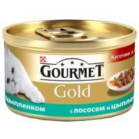Фотография товара Корм для кошек Gourmet Gold, 85 г, лосось с цыпленком