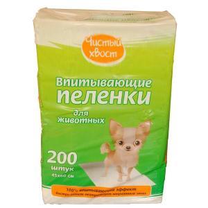 Пеленки для собак Чистый Хвост, 5 кг, размер 45х60см., 200 шт.