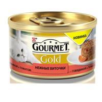 Фотография товара Корм для кошек Gourmet Gold Нежные биточки, 85 г, говядина с томатами