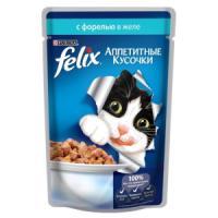 Фотография товара Корм для кошек Felix Аппетитные кусочки, 85 г, форель
