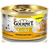 Фотография товара Корм для кошек Gourmet Gold Нежные биточки, 85 г, курица с морковью