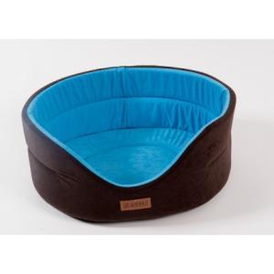 Лежанка для собак Katsu Suedine S, размер 46х42х18см., коричневый/голубой
