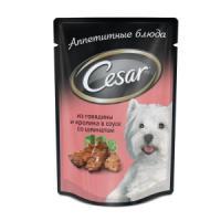 Фотография товара Влажный корм для собак Cesar Аппетитные блюда, 100 г, говядина с кроликом и шпинатом