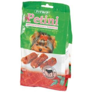 Колбаски для собак TitBit Petini, 63 г