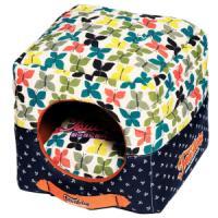 Фотография товара Домик для собак и кошек Katsu Бабочки S S, 1 кг, размер 30х30х16см., бирюзово-белый